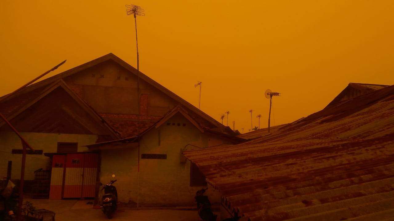 Kabut Asap Makin Parah, Langit Kota Jambi Berwarna Kuning ...