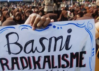 Ilustrasi tolak radikalisme. (Bram Selo Agung/Tempo)