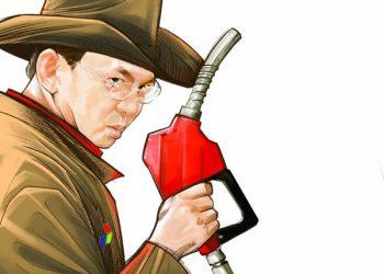 Ilustrasi Ahok sebagai pegawai Pertamina. (Budiono/Jawa Pos)