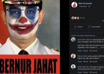 Meme Anies Baswedan berwajah joker. (Facebook/Ade Armando)