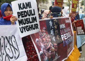 Aksi bela Uighur di Surabaya (Detik.com/Amir Baihaqi)