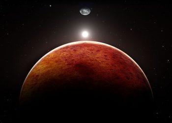 Ilustrasi planet Mars dengan Bulan dan Bumi sebagai latar belakang. (Pitris/Getty Images/iStockphoto)