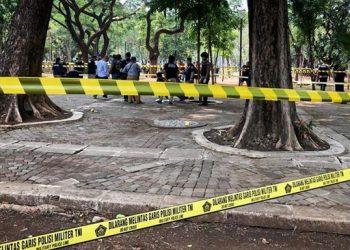 Ledakan di Monas. (CNN Indonesia/ Ramadhan Rizki Saputra)