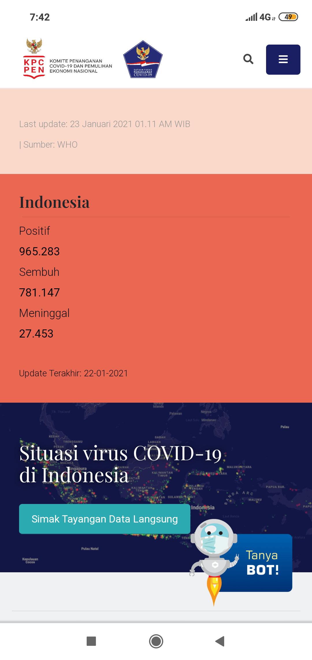 Tangkapan layar website Covid19.go.id