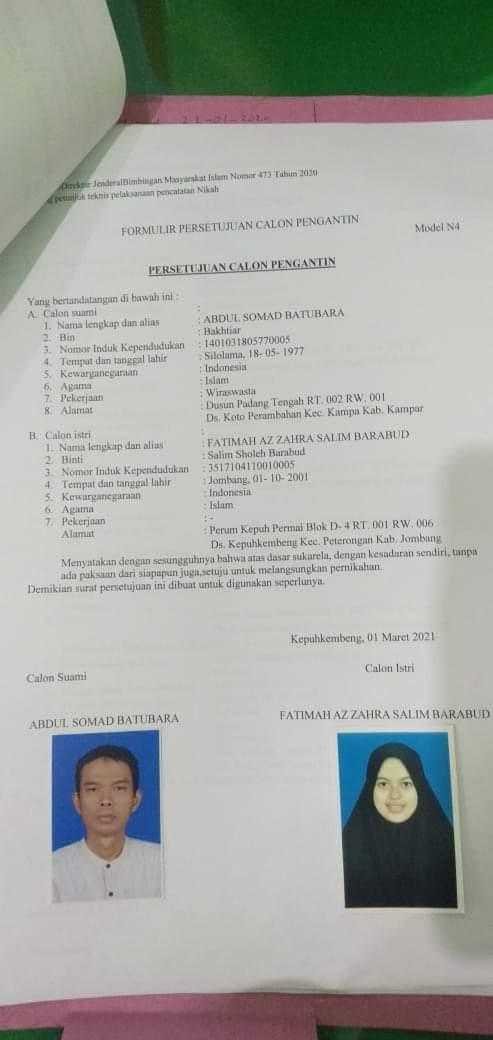 foto formulir persetujuan pernikahan antra Ustaz Abdul Somad degan Fatimah Az Zahra